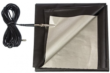 Black and Silver RFID Blocking Faraday Shielded Fabric: Radiation WIFI & RF Shielding: 40x40 Nickel & Copper EMF Identity Theft Blocker for your Wallet Phone or Laptop. Includes 20' Grounding Cord - 2