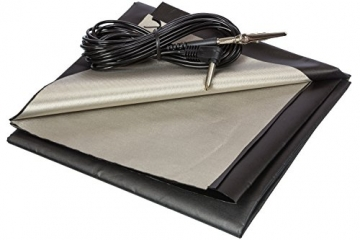 Black and Silver RFID Blocking Faraday Shielded Fabric: Radiation WIFI & RF Shielding: ​40x40​ Nickel & Copper EMF Identity Theft Blocker for your Wallet Phone or Laptop. Includes 20' Grounding Cord - 1