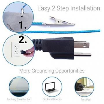 Grounding Cord - 16.4 Foot - Ground Cable for EMF Protection Fabric & Anti Static Mat - 3-Prong Gator with Alligator Clip - Easy Earth Ground Plug and Play into Outlet - 3