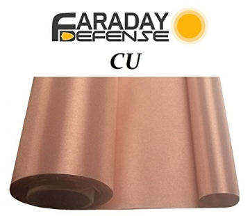 "RF RFID Shielding Copper Fabric Roll 43"" x 1' Signal Blocking Material - 1"