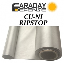 "RFID Shielding Nickel Copper Rip-Stop Fabric Roll 50"" x 1' Signal EMF Blocking Material - 1"