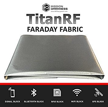 "TitanRF Faraday Fabric. EMI Shielding, RFID Shielding, Cell Phone Block, WiFi Block, Bluetooth Block. MILITARY GRADE SHIELDING FABRIC. 44"" x 36"" / 11sq. ft. / 1.22 Sq. Yds.) - 1"