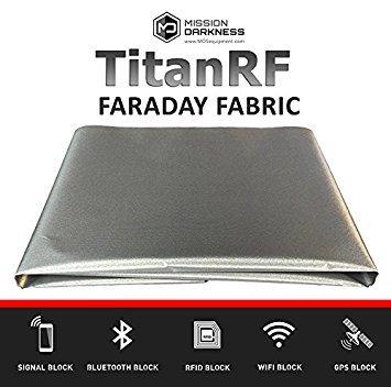 "TitanRF Faraday Fabric. EMI Shielding, RFID Shielding, Cell Phone Block, WiFi Block, Bluetooth Block. MILITARY GRADE SHIELDING FABRIC. 44"" x 36"" / 11sq. ft. / 1.22 Sq. Yds.) - 1"
